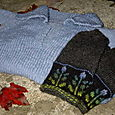 Flower Rain Mittens and  Simple Neck Down Hoody