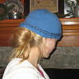 Blue Hat with Braid