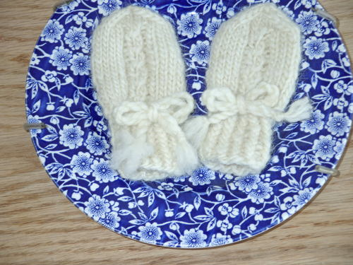 Mock Cable Baby Mittens