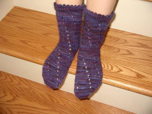 Eyelet Swirl Socks in Bearfoot